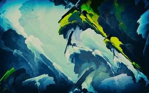 blue, green, fractal, edited, abstract, digital art
