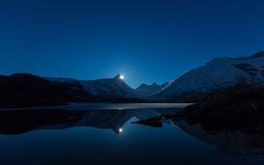 landscape, water, night, moon