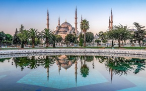 Turkey, reflection, water, palm trees, architecture, cityscape