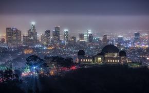 skyscraper, California, night, hill, trees, cityscape