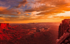 Utah, river, landscape, red, gold, clouds