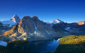 lake, mountain, fall, nature, blue, landscape