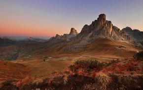 shrubs, nature, landscape, road, mountain, sunrise
