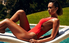 brunette, Jessica Alba, red bikinis, one, piece swimsuit