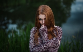 girl outdoors, girl, model, freckles, sweater, redhead