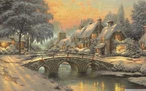 stream, snow, painting, bridge, chimneys, cottage