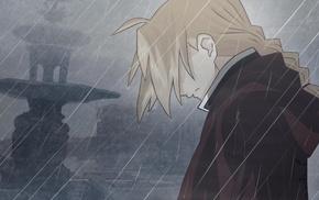 Elric Edward, anime, EuAmo, blonde, rain, anime boys