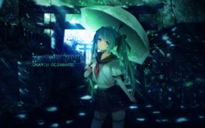 umbrella, anime girls, knee, highs, DeviantArt, skirt
