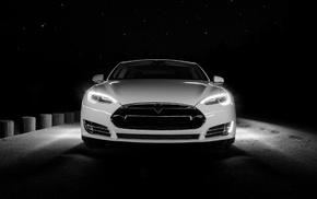 car, Tesla S, night