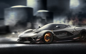 motion blur, car, Ferrari FXXK