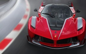 Ferrari FXXK, race tracks, motion blur, car