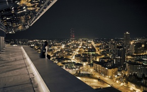 balconies, city, cityscape, night, sitting, lights