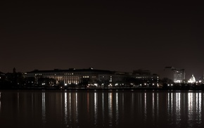 USA, night, city, multiple display, triple screen, Washington