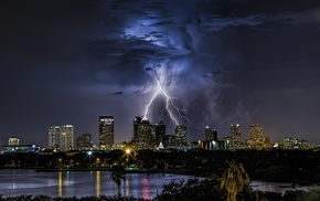 Florida, storm, night, clouds, city, cityscape