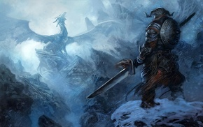 The Elder Scrolls V Skyrim, dragon, artwork, sword, fantasy art, The Elder Scrolls
