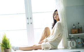 window sill, Asian, brunette, girl, legs, sweater