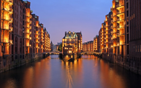 Hamburg, lights, cityscape, bridge, building, water