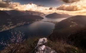 landscape, cityscape, clouds, lake, grass, Switzerland