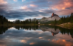 nature, clouds, water, summer, reflection, mountain