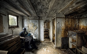 gas masks, reading, abandoned, grunge, room, men