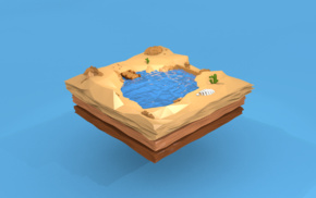 skeleton, floating island, oasis, water, stones