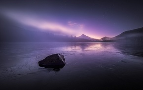 sunset, mist, lake, landscape, starry night, forest