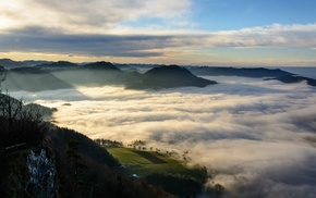 mountain, sunrise, shrubs, nature, clouds, field