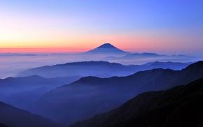 Japan, mist, landscape, blue, nature, sunrise