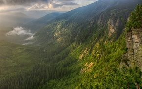 mist, mountain, nature, landscape, sunset, valley