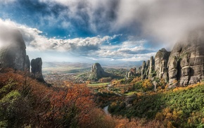 rock, valley, landscape, forest, clouds, fall