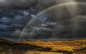 nature, hill, rainbows, Namibia, landscape, road