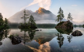 mountain, water, lake, nature, trees, forest