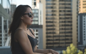 sunglasses, Amanda Sierras, portrait, side view, girl with glasses, looking away