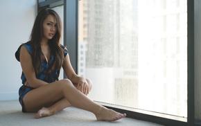 model, girl, Amanda Sierras, sitting, window, barefoot