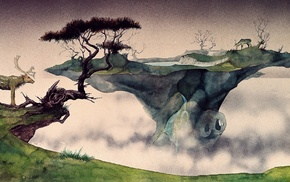 animals, painting, deer, Roger Dean, trees, ink
