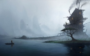 house, mist, water, men, rock, birds