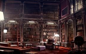 literature, books, artwork, digital art, library