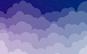 blue, imagination, clouds, stars, minimalism