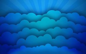minimalism, imagination, clouds, digital art, sun rays, blue
