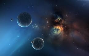 planet, space art, nebula