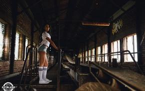 girl, model, Aline Lima, stockings, sneakers, socks
