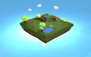 green, island, floating