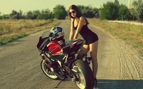 black heels, motorcycle, sunglasses, high heels, girl with glasses, road