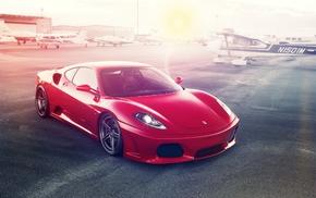 car, sunset, Ferrari, Ferrari 430, selective coloring