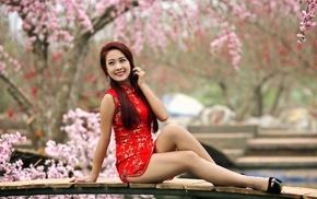 sitting, girl, Asian, high heels, redhead, smiling