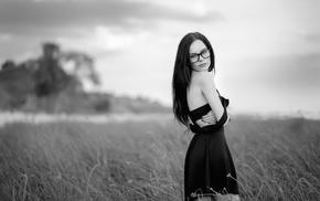 depth of field, black dress, glasses, girl outdoors, girl, girl with glasses