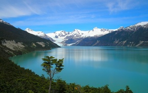 Andes, mountain, forest, turquoise, Chile, nature