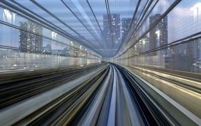 motion blur, Tokyo, city, skyscraper, Japan, metro