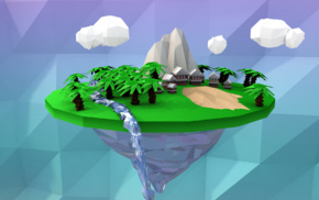 low poly, floating island, palm trees, simple, digital art