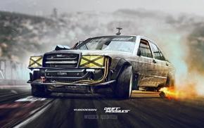 Mercedes, Benz, Adobe Photoshop, drift, Drift missile, car